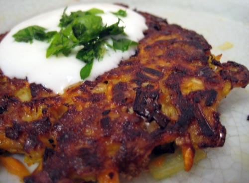 Sweet Potato and Leek Latkes